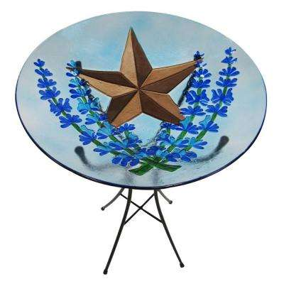 Bluebonnet Star Glass Bird Bath