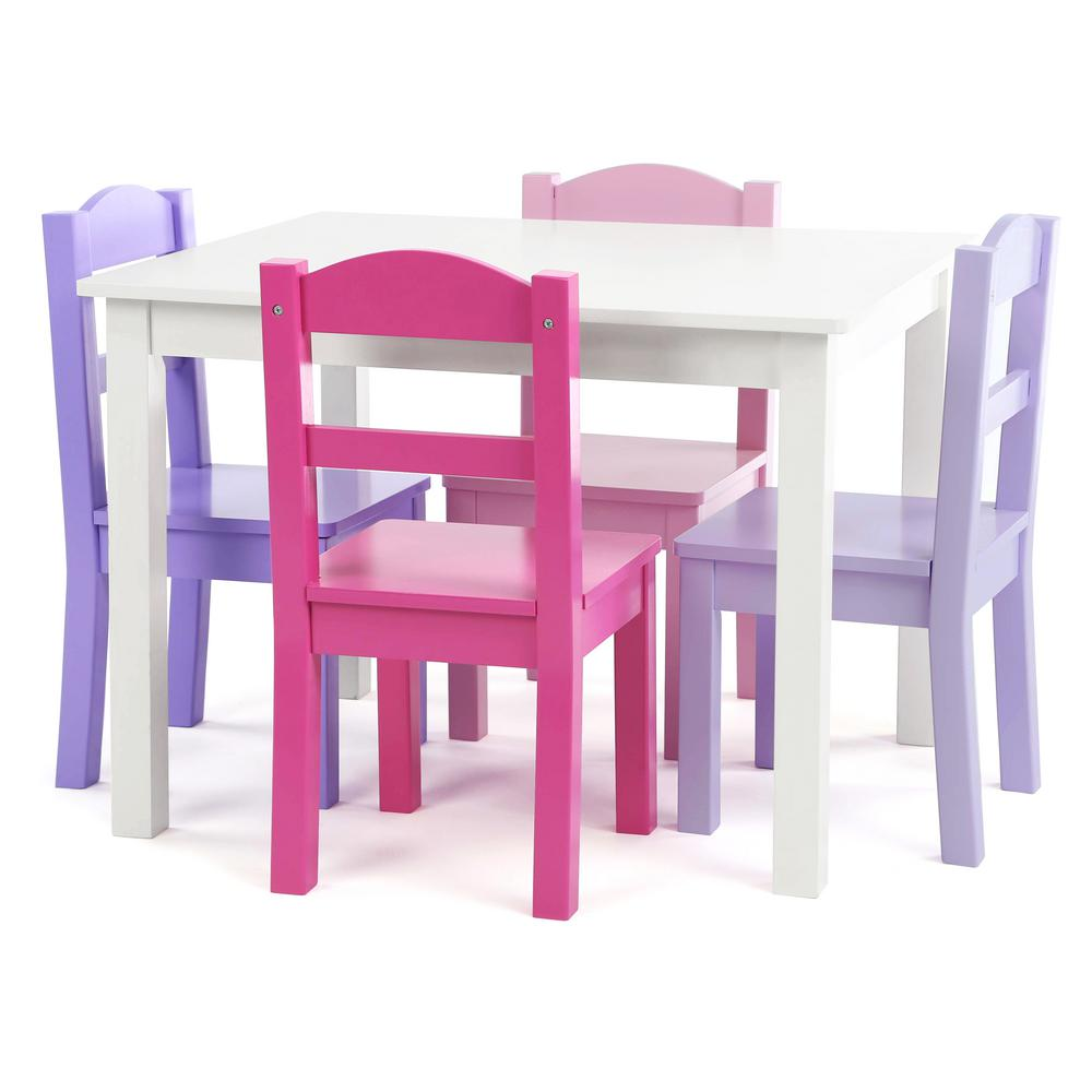 Forever 5-Piece White/Pink/Purple Kids Table and Chair Set
