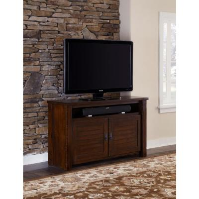 Trestlewood 54 in. Mesquite Pine Wood TV Stand Fits TVs Up to 60 in. with Storage Doors