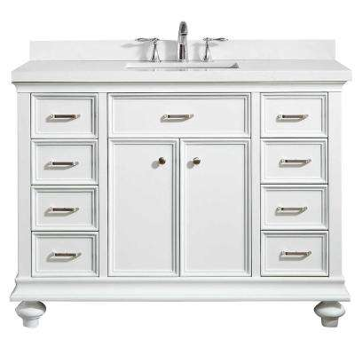 Charlotte 48 in. W x 22 in. D x 36 in. H Vanity in White with Quartz Vanity Top in White with White Basin