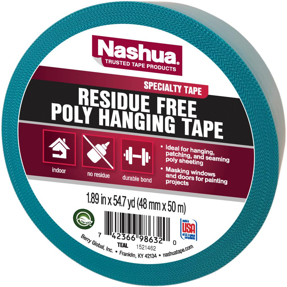 Nashua Tape 1.89 in. x 54.7 yd. Residue Free Poly Hanging Tape in Teal
