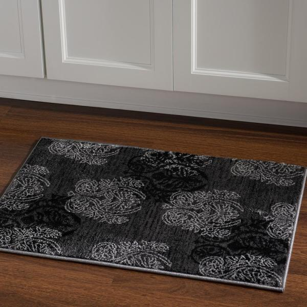 Linon Home Decor Milan Collection Grey And Black 2 Ft X 3 Ft Indoor Area Rug Rug Mn2823 The Home Depot