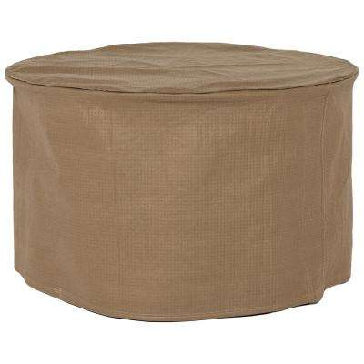 Essential 31 in. Tan Round Patio Ottoman or Side Table Cover
