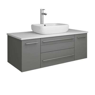 Lucera 42 in. W Wall Hung Bath Vanity in Gray with Quartz Stone Vanity Top in White with White Basin