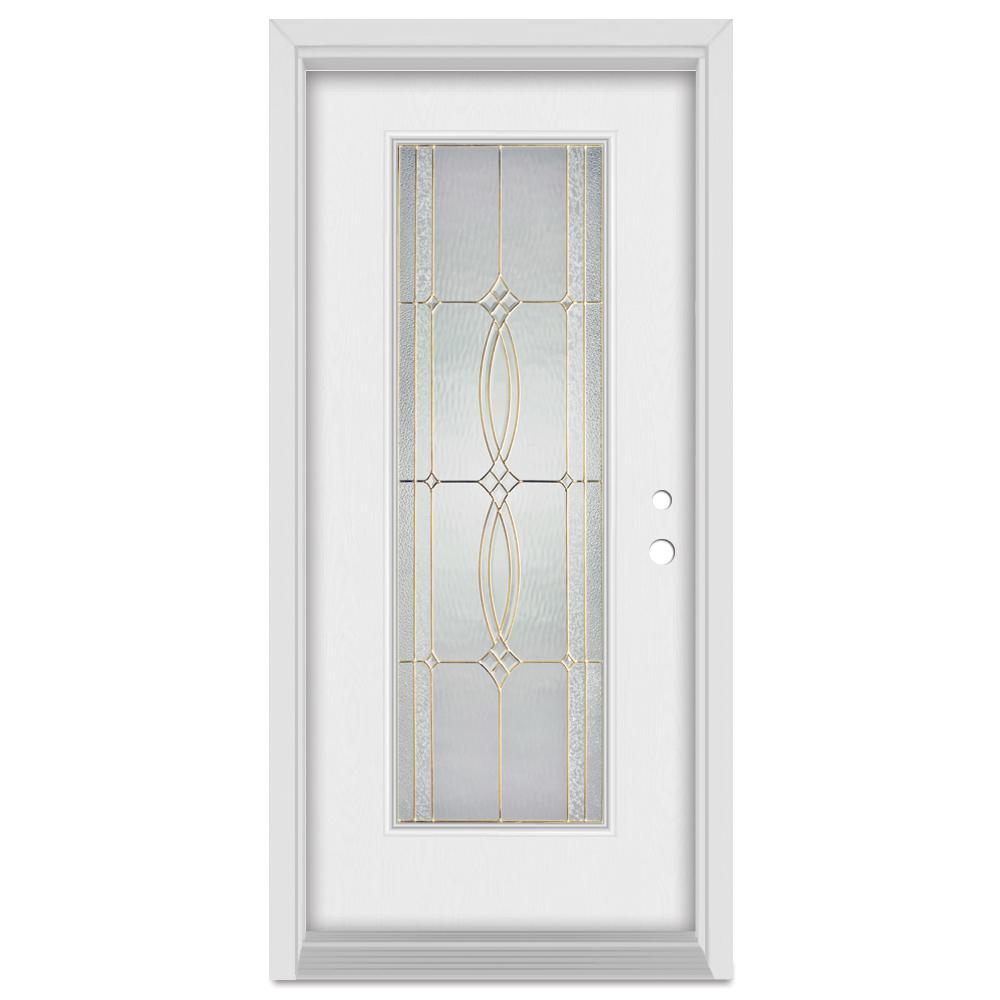 Stanley Doors 37.375 in. x 83 in. Diamanti Left-Hand Brass Finished ...