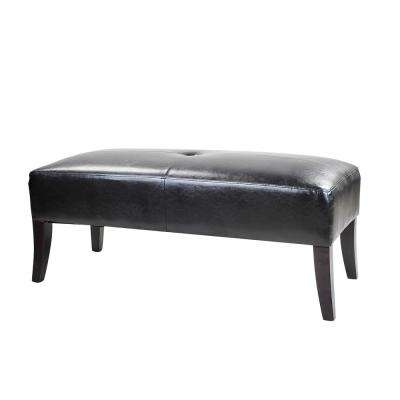Antonio 46 in. Wide Bench in Black Bonded Leather