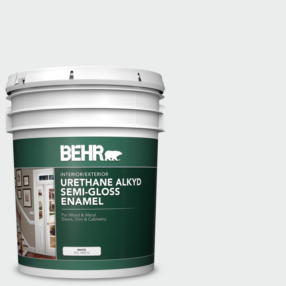 BEHR 5 gal. #BWC-12 Vibrant White Urethane Alkyd Semi-Gloss Enamel Interior/Exterior Paint