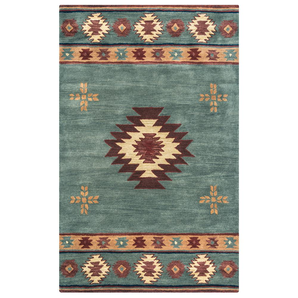 Rizzy Home Southwest Blue Grey 8 Ft X Round Area Rug