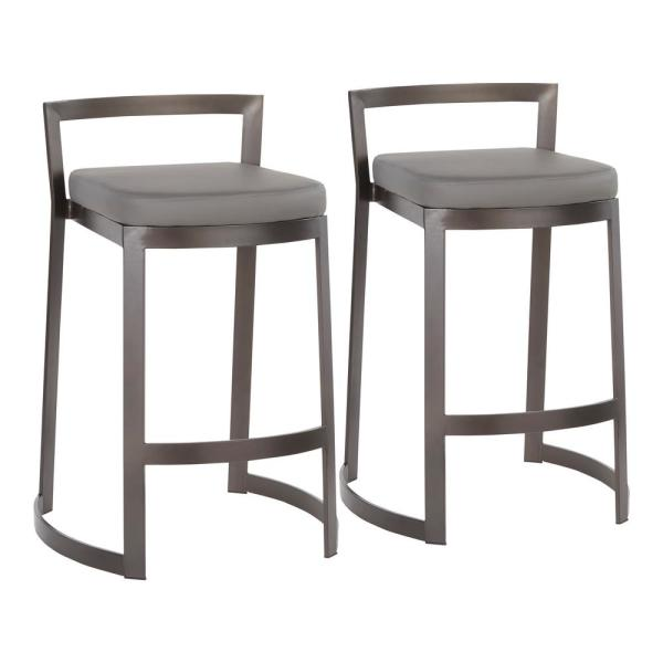 Lumisource Fuji DLX 28 in. Antique Counter Stool with Grey Faux