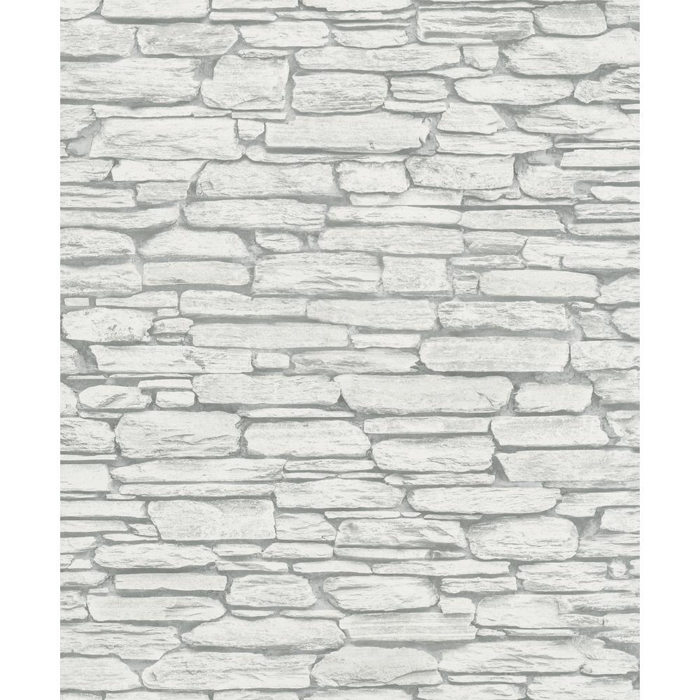 56.4 sq. ft. Kamen Light Grey Stone Wallpaper