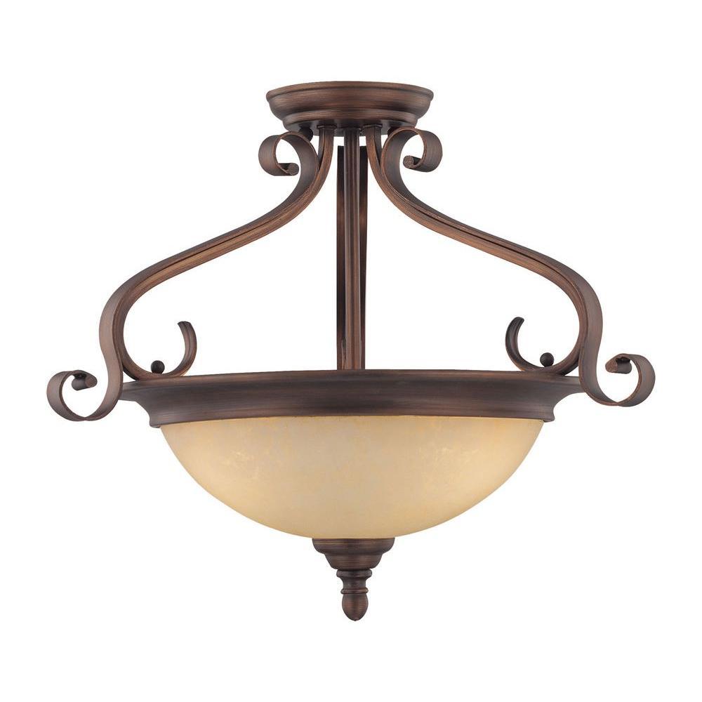 Millennium Lighting 3-Light Rubbed Bronze Semi-Flush Mount Light with Turinian Scavo Glass