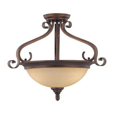 3-Light Rubbed Bronze Semi-Flush Mount Light with Turinian Scavo Glass