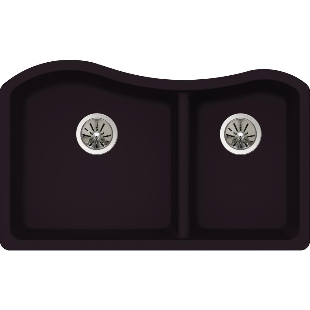 Premium Quartz Undermount Composite 33 in. Double Bowl Kitchen Sink in