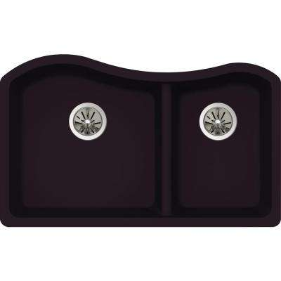 Premium Quartz Undermount Composite 33 in. Rounded 50/50 Double Bowl Kitchen Sink in Caviar