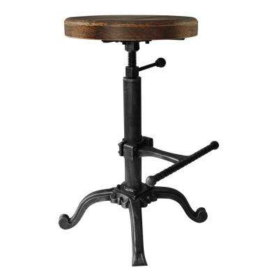 Denis Industrial 20-26 in. Adjustable Backless Barstool in Silver Brushed Gray with Rustic Pine Wood Seat