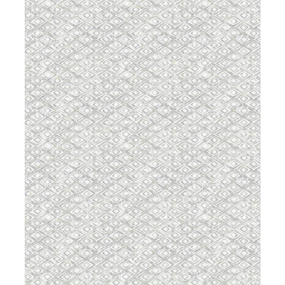 Delilah Light Grey Diamond Wallpaper Sample