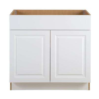 Benton Assembled 36 in. x 24.5 in. x 34.5 in. Sink Base Cabinet with False Drawer Front in White