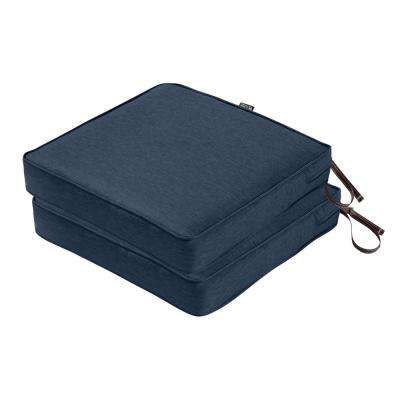 Montlake FadeSafe 19 in. L x 19 in. W x 3 in. T Heather Indigo Blue Outdoor Seat Cushion (2-Pack)