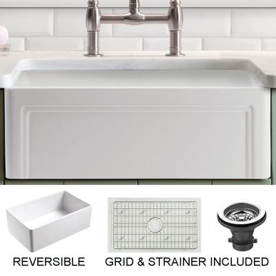 Olde London Farmhouse Fireclay 24 in. Single Bowl Kitchen Sink with Grid with Grid and Strainer