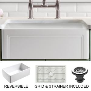 Olde London Farmhouse Fireclay 27 in. Single Bowl Kitchen Sink with Grid with Grid and Strainer