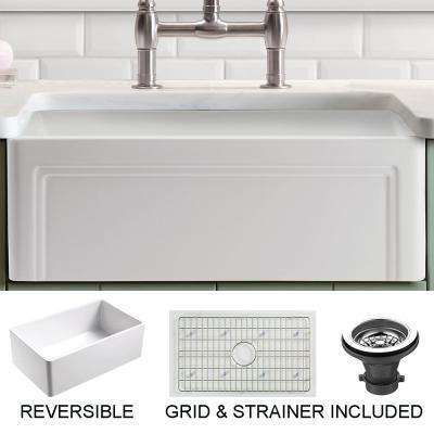 Olde London Farmhouse Fireclay 33 in. Single Bowl Kitchen Sink with Grid with Grid and Strainer