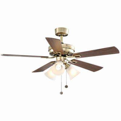 Sinclair 44 in. Indoor Flemish Brass Ceiling Fan with Light Kit