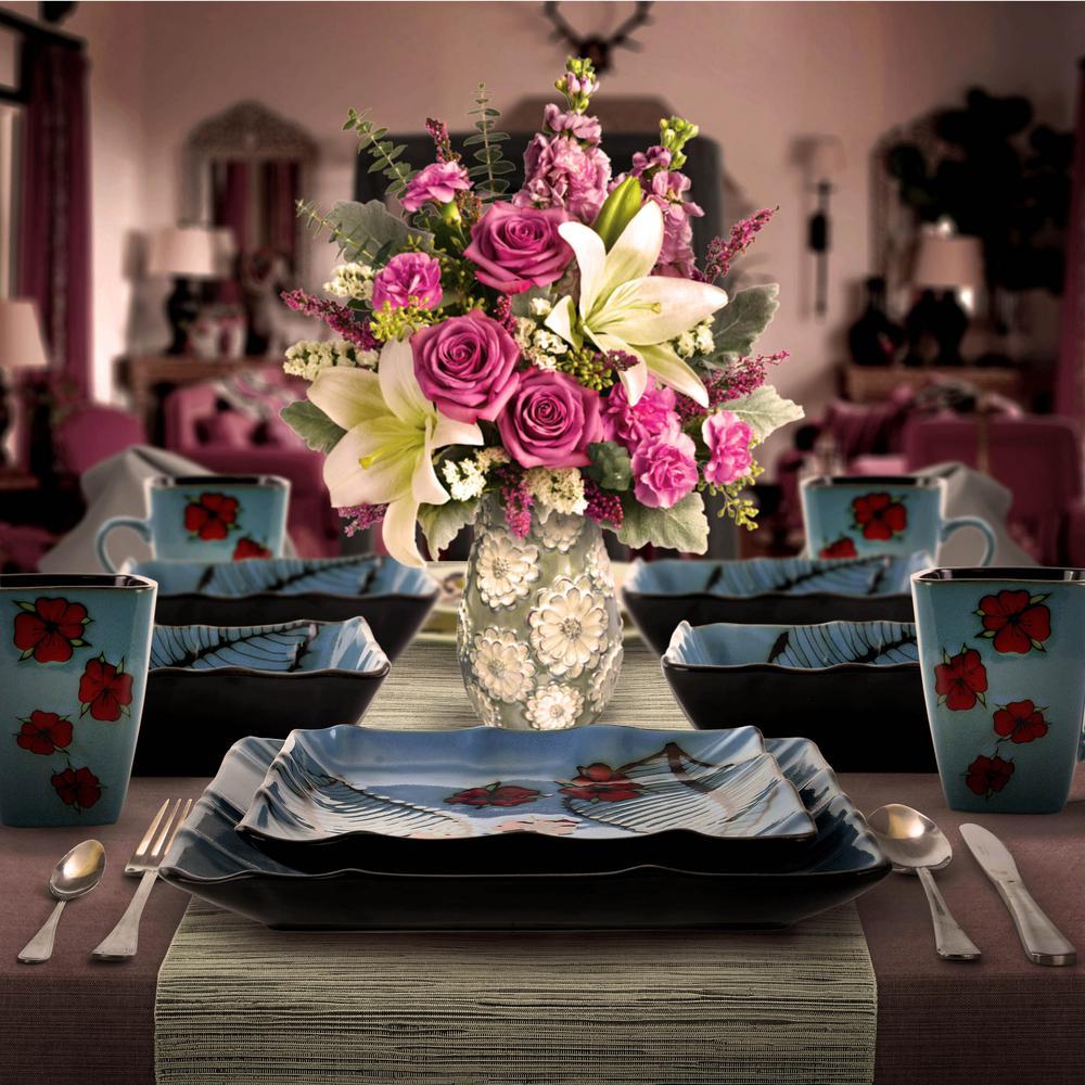Aloha Tide 16-Piece Patterned Blue Stoneware Dinnerware Set (Service for 4)