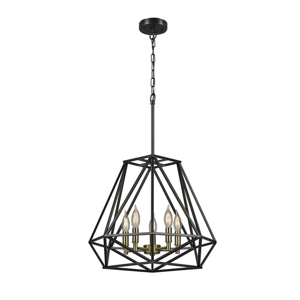 Globe Electric Sansa 5-Light Dark Bronze Chandelier