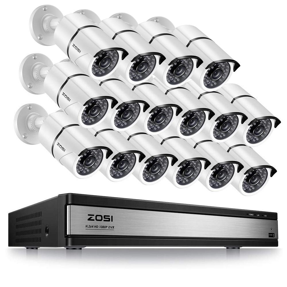 ZOSI 16-Channel 1080p DVR Security Camera System with 16 Wired Bullet Cameras No Hard Drive
