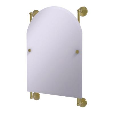 Monte Carlo Arched Top Frameless Rail Mounted Mirror in Satin Brass