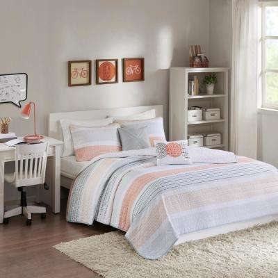 Lou 5-Piece Coral Full/Queen Geometric Coverlet Set