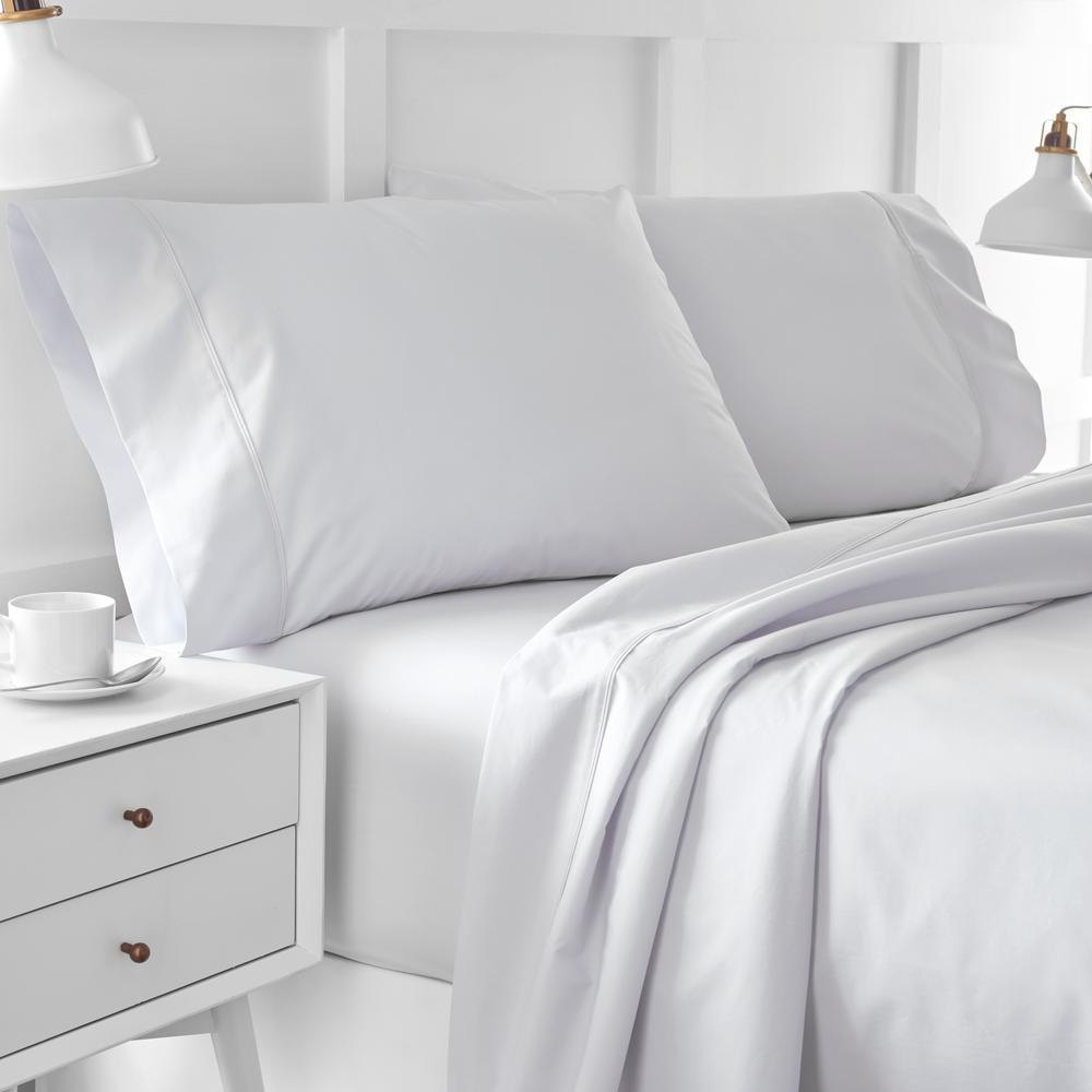 Urban Edgelands T200 4-Piece Glacier Grey Organic Cotton Full Sheet Set