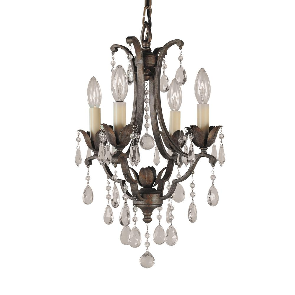 Feiss Maison De Ville 4-Light British Bronze Mini Chandelier-F1881 ...