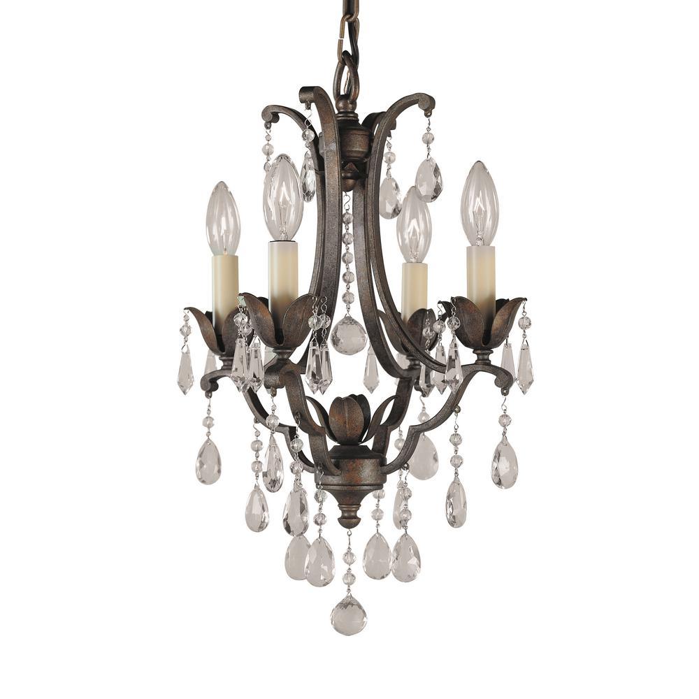 Crystal cottage chandeliers lighting the home depot maison de ville 4 light british bronze mini chandelier aloadofball Images