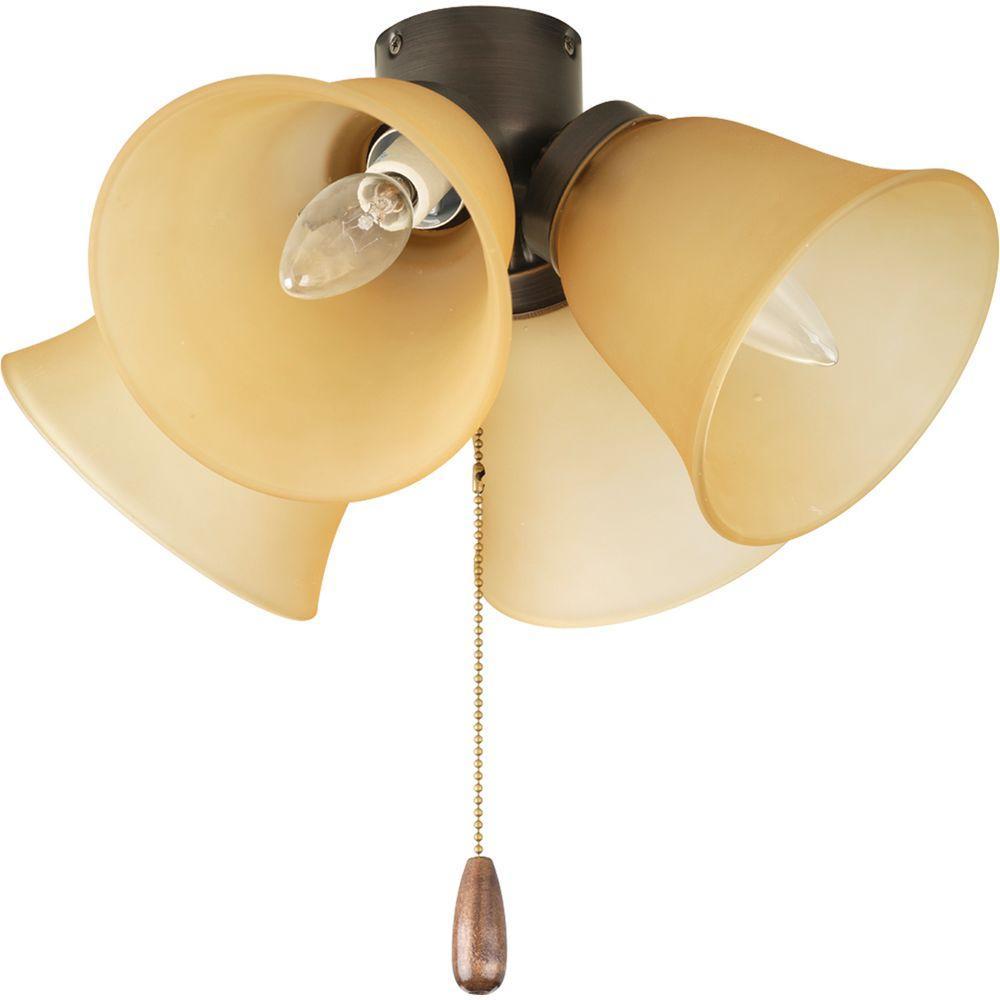 Progress Lighting AirPro 4-Light Antique Bronze Ceiling Fan Light