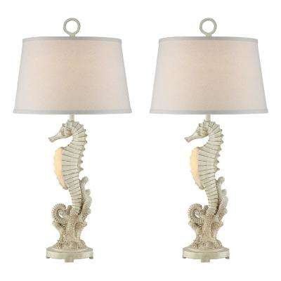 34 in. Antique White Indoor Table Lamp Set