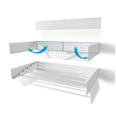 40 in. Indoor/Outdoor White Retractable Wall Mount Drying Rack