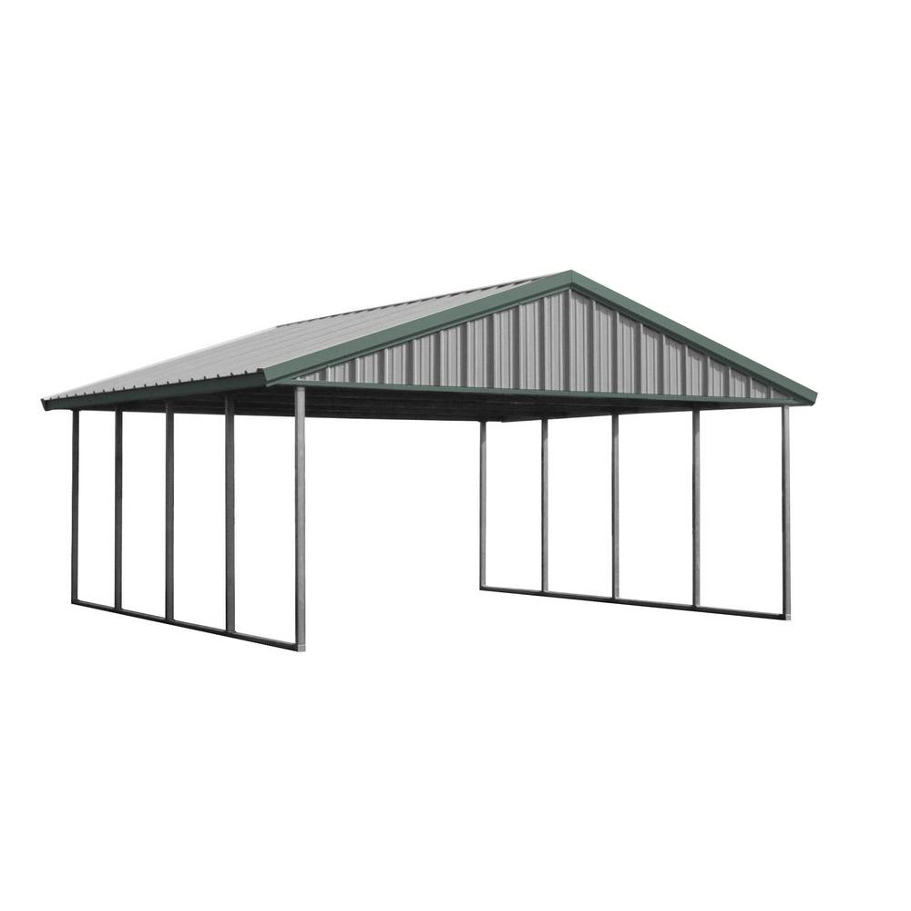 Premium Canopy 20 ft. x 20 ft. Light Stone and Patina Green All Steel  sc 1 st  Home Depot & Double-Wide - Portable Garages u0026 Car Canopies - Carports u0026 Garages ...