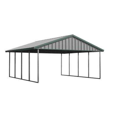 Premium Canopy 20 ft. x 20 ft. Light Stone and Patina Green All Steel Structure with Durable Galvanized Frame