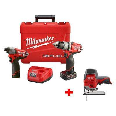 M12 FUEL 12-Volt Cordless Lithium-Ion Brushless 1/2 in. Drill/Impact Combo Kit with Free M12 Compact Jig Saw