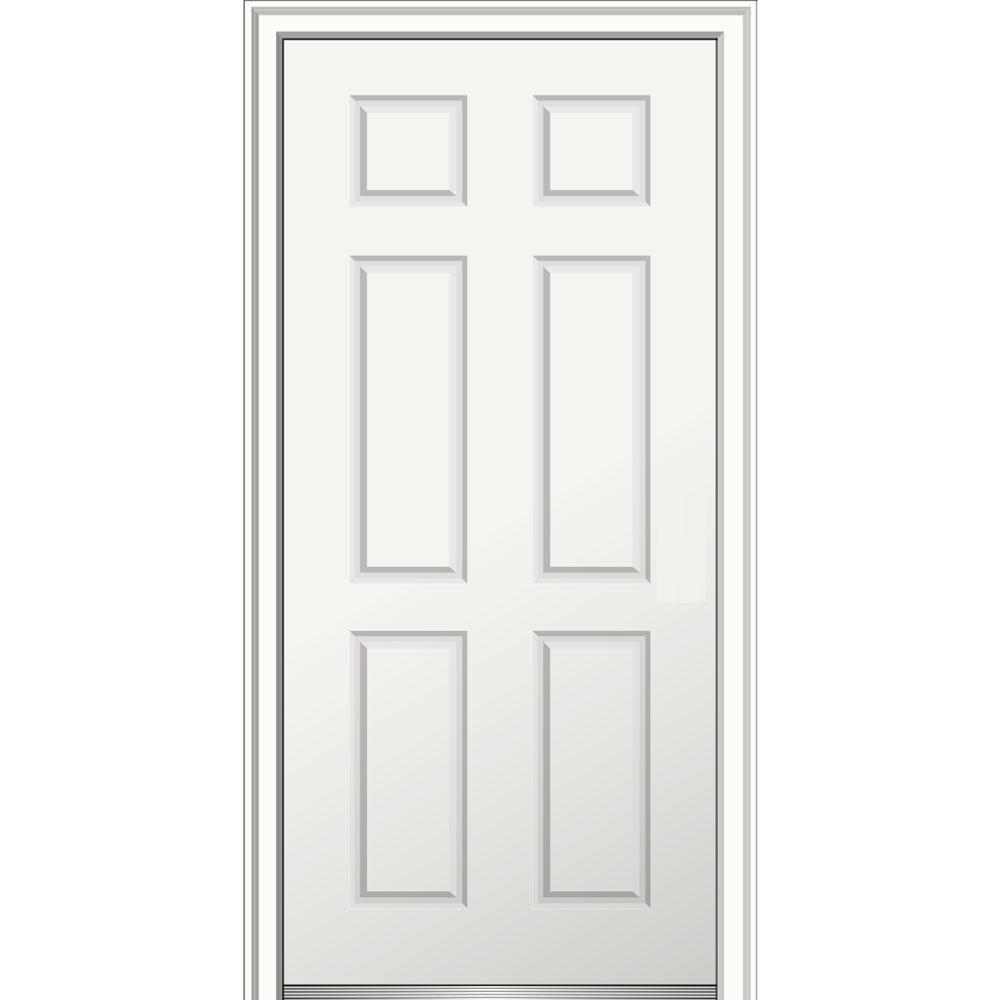MMI Door 30 in. x 80 in. Right-Hand Inswing Classic 6-Panel Primed Fiberglass Smooth Prehung Front Door on 6-9/16 in. Frame