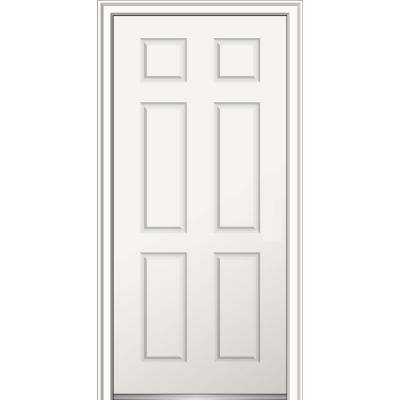 32 in. x 80 in. Left-Hand Inswing Classic 6-Panel Primed Fiberglass Smooth Prehung Front Door on 6-9/16 in. Frame