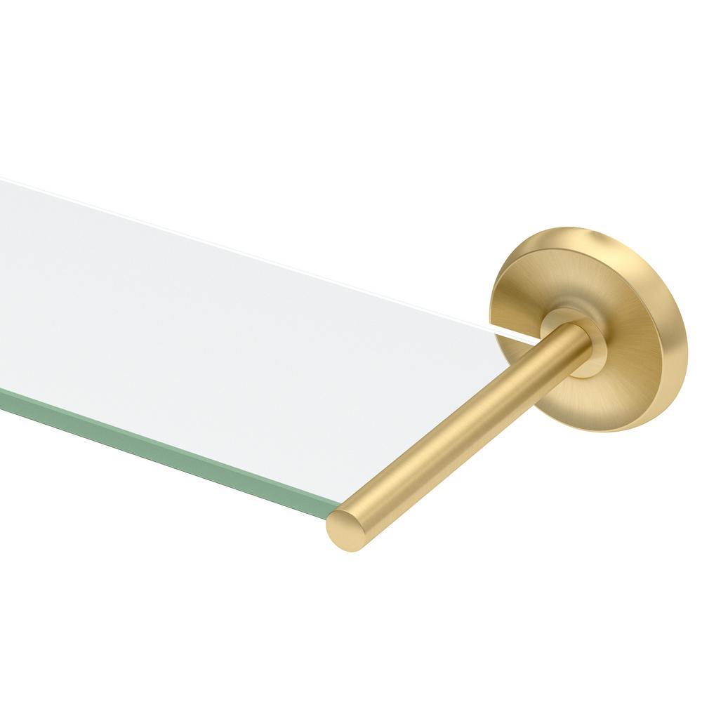 Designer II 22.5 in. W Glass Shelf in Brushed Brass