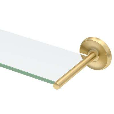 Designer II 22.5 in. W Glass Shelf in Brushed Brass