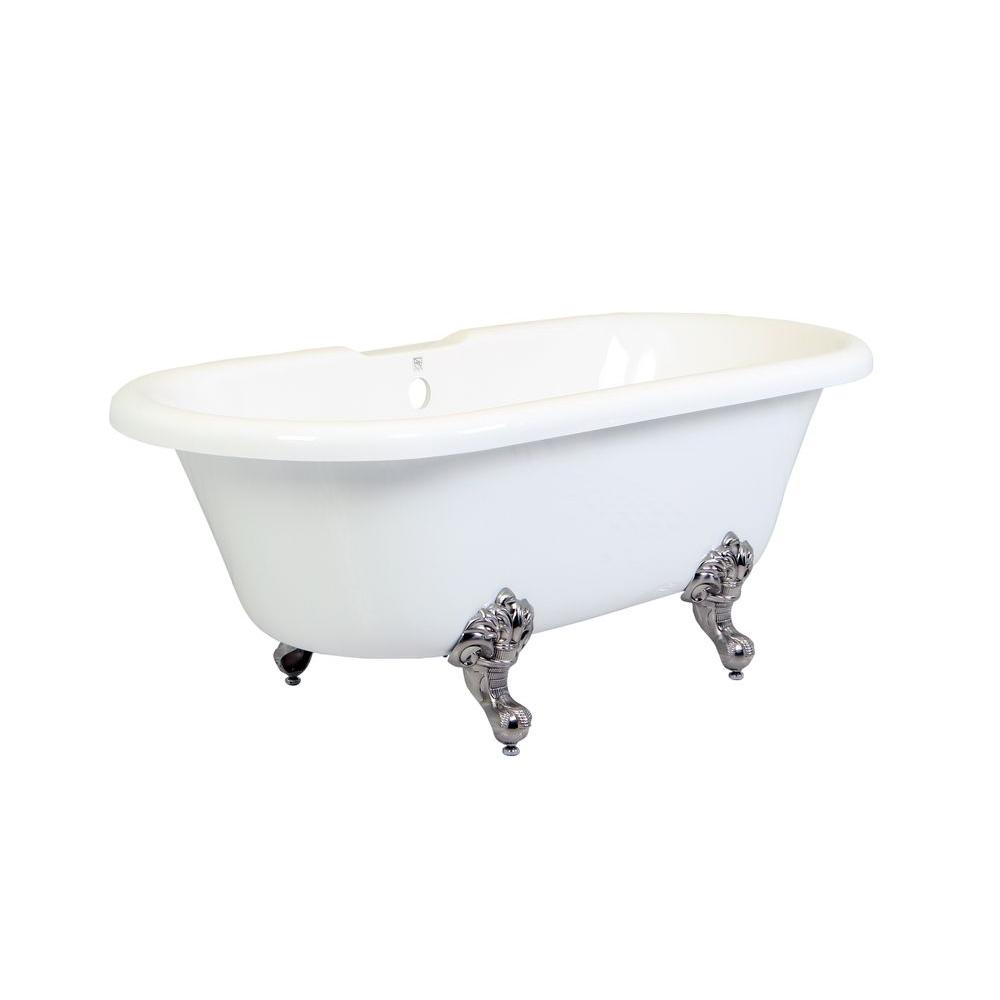 5.6 ft. Acrylic Satin Nickel Claw Foot Double Ended Tub in