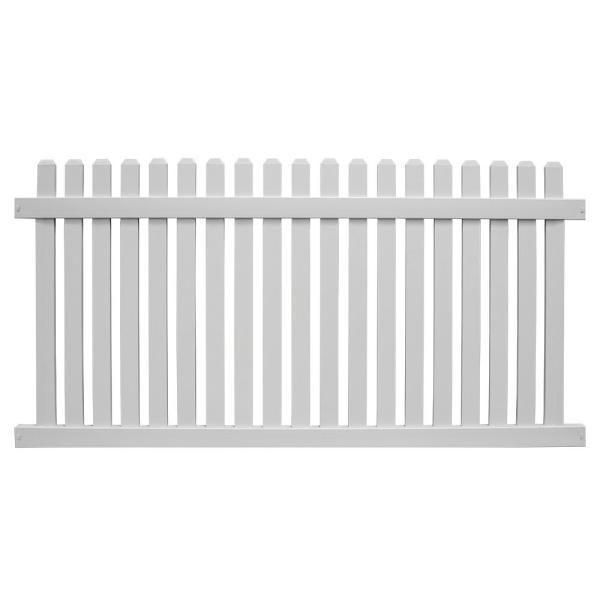 Weatherables Provincetown 4 Ft H X 6 Ft W White Vinyl Picket Fence Panel Kit Pwpi 3nr 4x6 The Home Depot