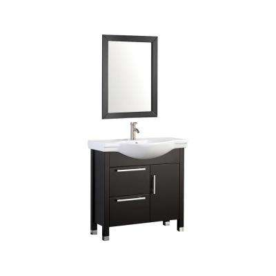 Peru 36 in. W x 18 in. D x 36 in. H Vanity in Espresso with Porcelain Vanity Top in White with White Basin and Mirror