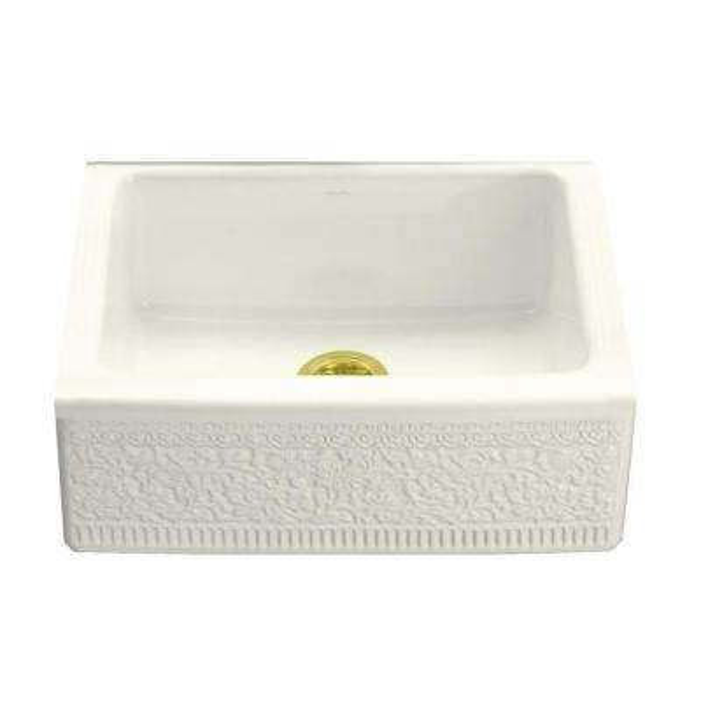 Interlace Design on Alcott Undermount Fireclay 25 in. 5-Hole Single Bowl Kitchen Sink in Biscuit