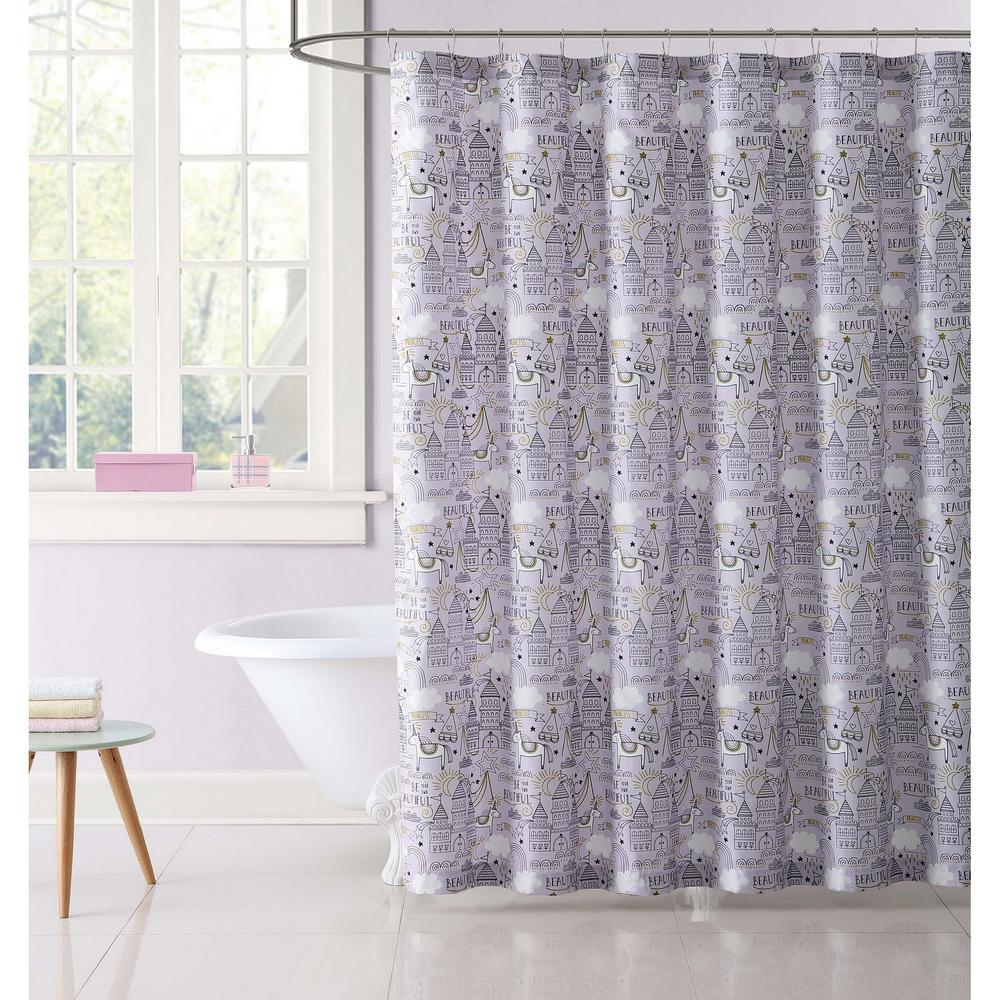 pink grey shower curtain. null Unicorn Princess Printed 72 in  Pink and Grey Shower Curtain