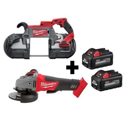 M18 FUEL 18-Volt 4-1/2 in./5 in. Lithium-Ion Brushless Cordless Grinder with Paddle Switch with Bandsaw and Batteries
